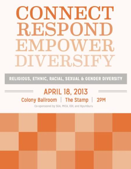 Multicultural event to increase inter-group discussion and solidarity organized by the SGA Diversity Committee, Spring 2014